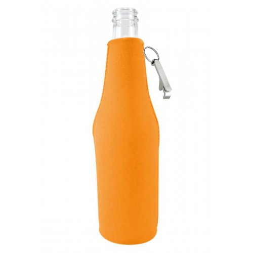 Zipper Beer Bottle Coolie w/Opener (1 Color Print)